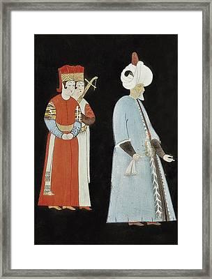 Suleyman I 1494-1566. Suleyman With Two Framed Print by Everett