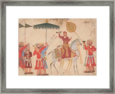 Sultan Hussain Nizam Shah I Of Ahmadnagar On Horseback Framed Print by Indian School