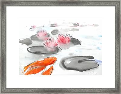 Sumie No.11 Koi Fish And Lotus Flowers Framed Print by Sumiyo Toribe
