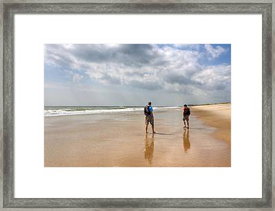 Summer A Beach In The Hamptons Framed Print by Mark E Tisdale