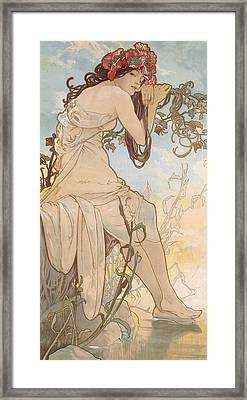Summer Framed Print by Alphonse Marie Mucha