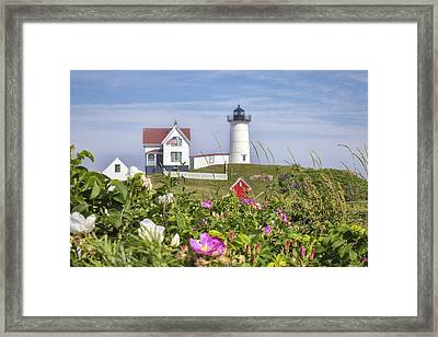 Summer At Nubble Light Framed Print by Eric Gendron