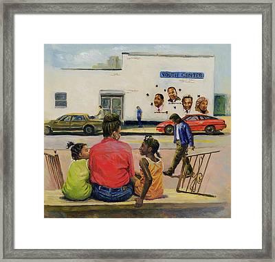 Summer City Stoop Framed Print by Colin Bootman