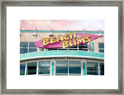 Summer Cottage Beach Bums Myrtle Beach Art Deco Sign Framed Print by Kathy Fornal