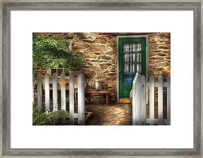 Summer - Cottage - Cottage Side Door Framed Print by Mike Savad