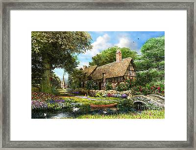 Summer Country Cottage Framed Print by Dominic Davison
