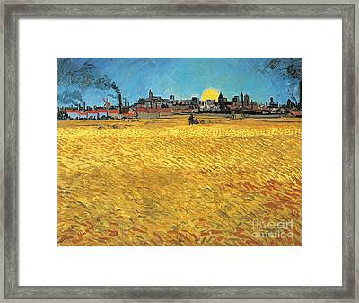 Summer Evening Wheat Field At Sunset Framed Print by Vincent van Gogh