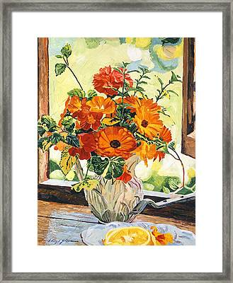 Summer House Still Life Framed Print by David Lloyd Glover