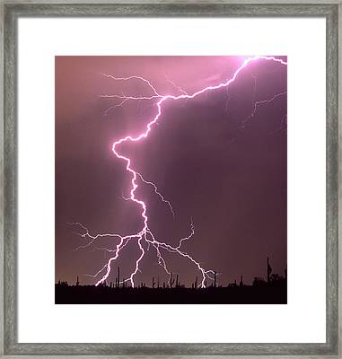 Summer Monsoon Season In The Sonoran Framed Print by Thomas Wiewandt