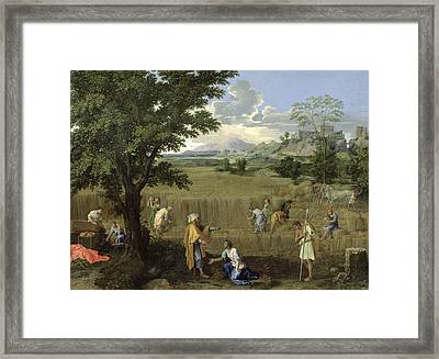 Summer, Or Ruth And Boaz, 1660-64 Oil On Canvas Framed Print by Nicolas Poussin