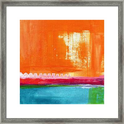 Summer Picnic- Colorful Abstract Art Framed Print by Linda Woods