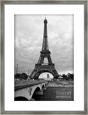 Summer Storm Over The Eiffel Tower Framed Print by Carol Groenen