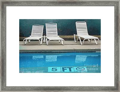 Summer Swimming Pool - Retro Summer Vacation Days - Swimming Pool Water And Chairs Framed Print by Kathy Fornal
