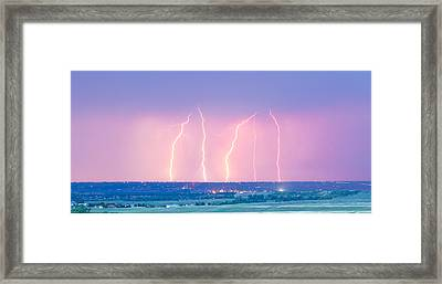 Summer Thunderstorm Lightning Strikes Panorama Framed Print by James BO  Insogna