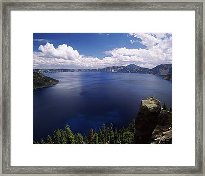 Summer Thunderstorms Over Crater Lake Framed Print by Panoramic Images