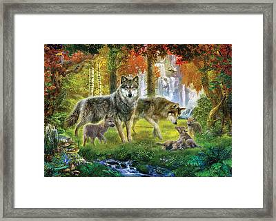 Summer Wolf Family Framed Print by Jan Patrik Krasny