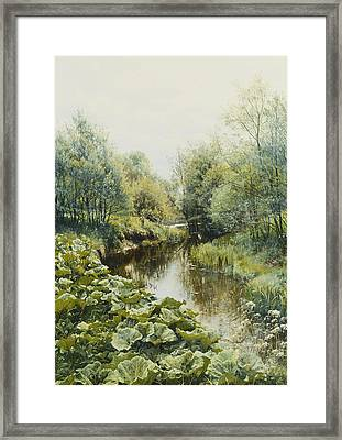 Summerday At The Stream Framed Print by Peder Monsted
