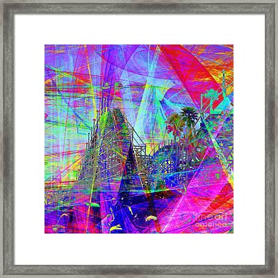 Summertime At Santa Cruz Beach Boardwalk 5d23930 Square Framed Print by Wingsdomain Art and Photography