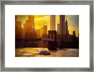 Summertime At The Brooklyn Bridge Framed Print by Chris Lord