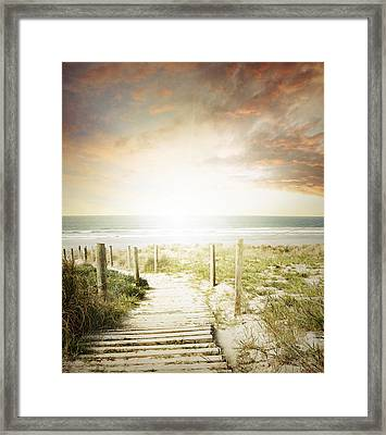 Summertime Boardwalk Framed Print by Les Cunliffe