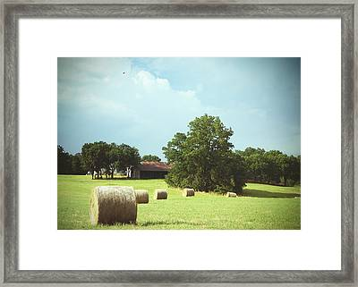 Summertime  Hay Bales  Framed Print by Ann Powell