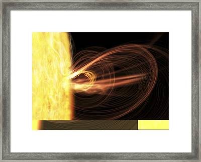 Sun And Solar Flare, Artwork. Framed Print by Science Photo Library