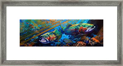 Sun And Steel Steelhead Trout Painting Framed Print by Savlen Art