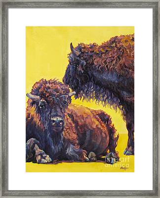 Buffalo Framed Print featuring the painting Sun Bathers by Patricia A Griffin