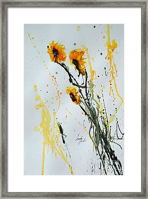 Sun-childs- Flower Painting Framed Print by Ismeta Gruenwald
