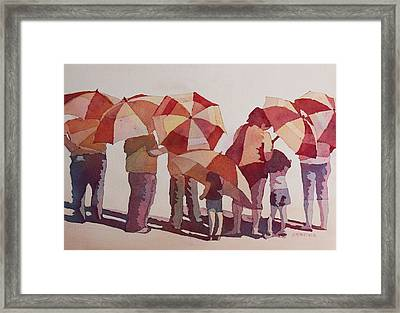 Sun Drenched Parasols  Framed Print by Jenny Armitage