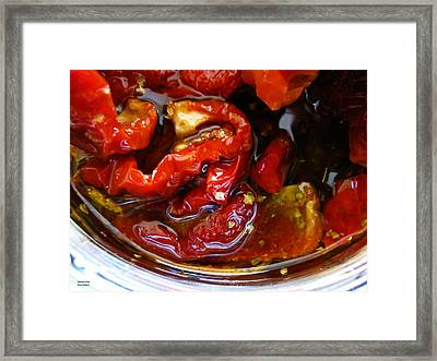 Sun Dried Tomatoes In Olive Oil Framed Print by Alexandros Daskalakis