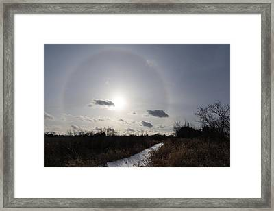 Sun Halo - An Amazing Optical Phenomenon In The Winter Sky Framed Print by Georgia Mizuleva