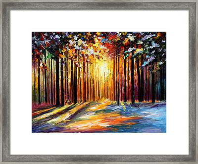 Sun Of January - Palette Knife Landscape Forest Oil Painting On Canvas By Leonid Afremov Framed Print by Leonid Afremov