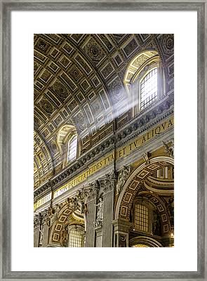 Sun Rays In St. Peter's Basilica Framed Print by Susan Schmitz