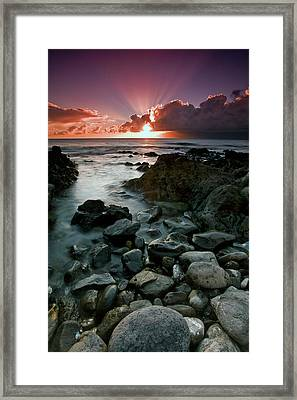 Sun Rays Shine Above The Clouds Framed Print by Scott Mead