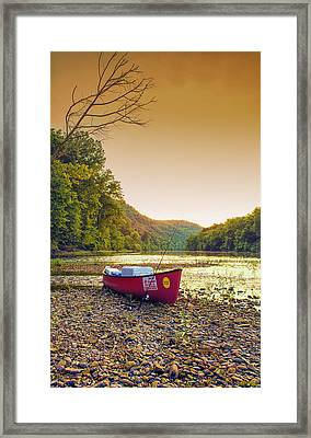 Sun Sets At Buffalo River Framed Print by Bill Tiepelman