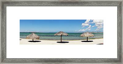 Sun Shade On The Beach Of La Paz, Baja Framed Print by Panoramic Images