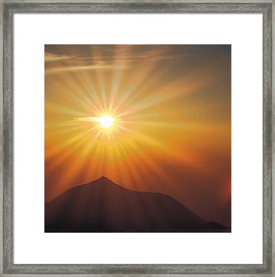 Sun Shinning Over The Mountain Framed Print by Panoramic Images