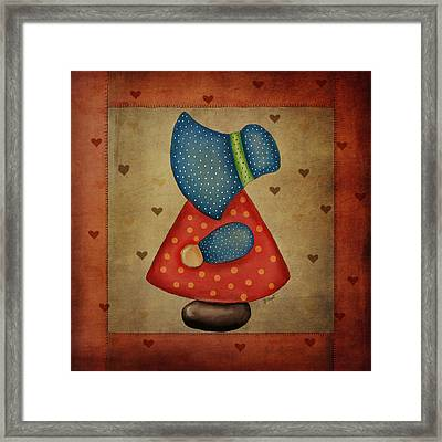Sunbonnet Sue In Red And Blue Framed Print by Brenda Bryant