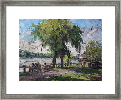 Sunday At Lewiston Waterfront Park Framed Print by Ylli Haruni