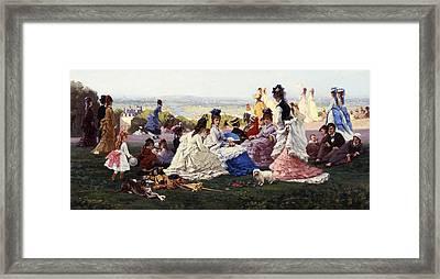 Sunday In Bellevue Framed Print by Gabriel-Amable de Lafoulhouze