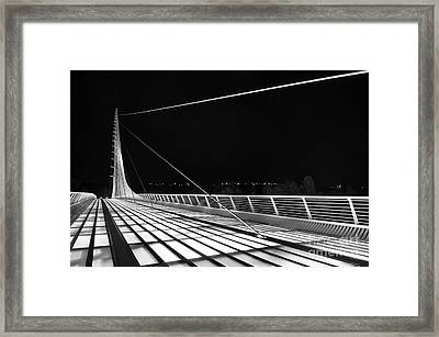 Sundial Bridge - Unique And Beautiful In Redding California In Black And White. Framed Print by Jamie Pham