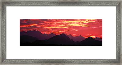 Sundown Austrian Mts South Bavaria Framed Print by Panoramic Images