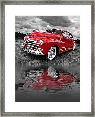 Sundown By The Lake - 1948 Red Chevy Framed Print by Gill Billington