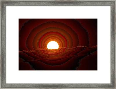 Sunfall Behind The Mountains Framed Print by Jeff Swan