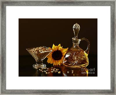 Sunflower And Crystal Framed Print by Inspired Nature Photography Fine Art Photography