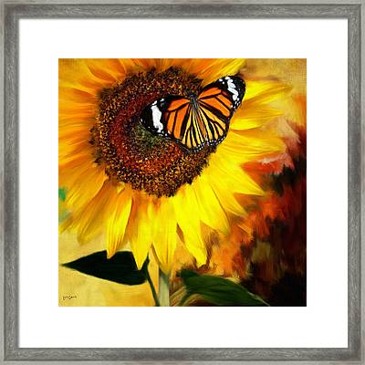 Sunflower And Butterfly Painting Framed Print by Lourry Legarde