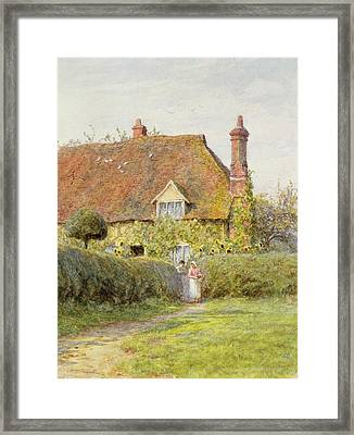 Sunflower Cottage Framed Print by Helen Allingham