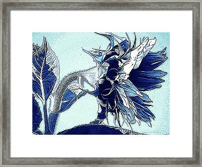 Sunflower - Denim Blues And White Framed Print by Janine Riley