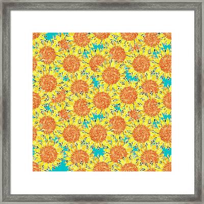 Sunflower Field Framed Print by Sharon Turner